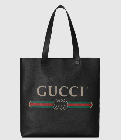 Gucci print leather tote